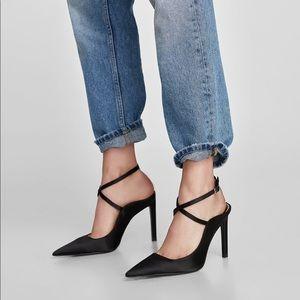 Zara black sling back heels